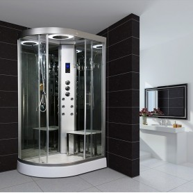 cabine de douche hydromassante pas cher en exclusivit sauna. Black Bedroom Furniture Sets. Home Design Ideas