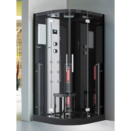 Douche Boreal® Combi 100 en angle - hammam + infrarouge à spectre total