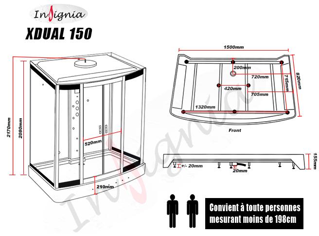 dimensions utiles de la Nouvelle XDUAL 150 Hammam 2 places