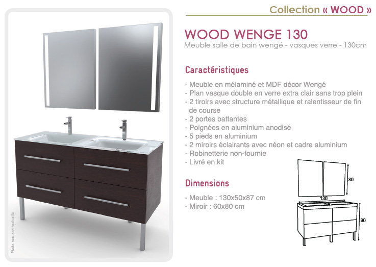 meuble salle de bain weng 130cm avec double vasque en r sine wood weng 130. Black Bedroom Furniture Sets. Home Design Ideas