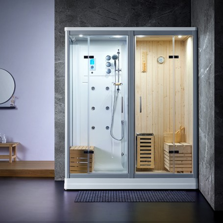Sauna Douche Hammam Boreal® SH180-G Blanc droite