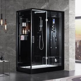 Cabine douche Hammam DUO Archipel® Pro 145D BLACK (145x95cm) - 2 place