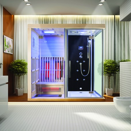 Combi Boreal® SIGMA 1820 x 1230 Sauna infrarouge + Douche hammam