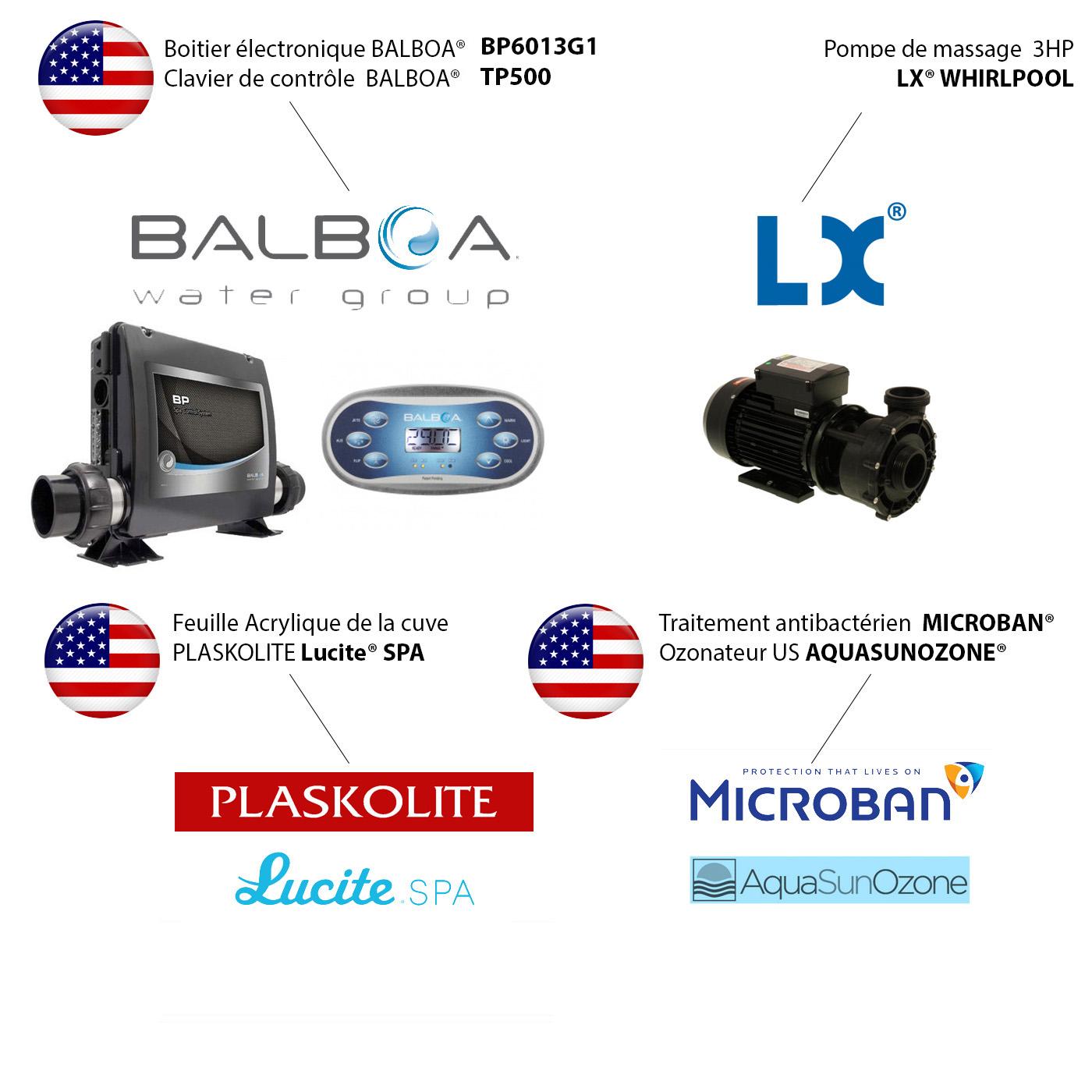 Composants du spa Archipel, gamme RELAXATION
