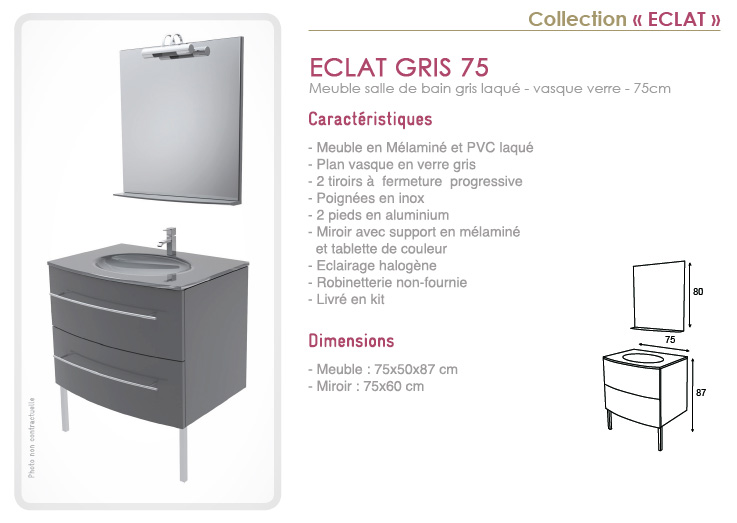 Meuble salle de bain laqué gris 75cm avec vasque en verre - Eclat ...