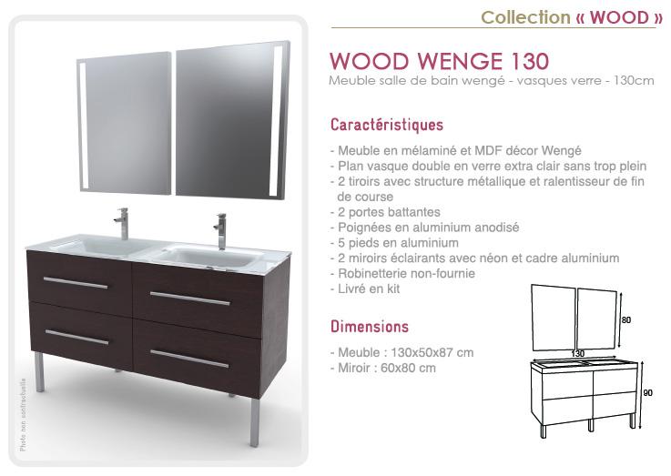 Meuble salle de bain wengé 130cm avec double vasque en résine - Wood ...